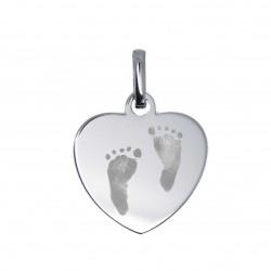 Pendentif Coeur plein gravé empreintes pieds - Argent