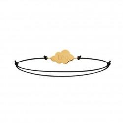 Bracelet Sur un nuage sur cordon gravé prénom - Plaqué or