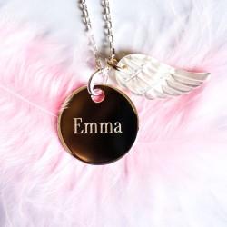 Collier personnalisé Médaille et Aile d'ange en nacre - Argent
