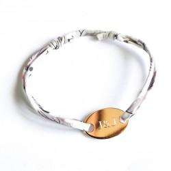 Bracelet gravé prénom cordon Liberty et médaille ovale - Plaqué or