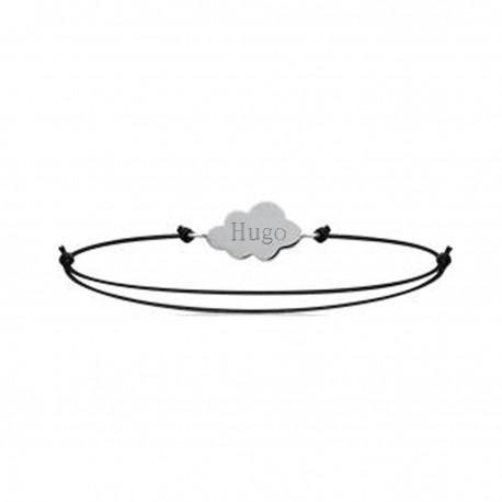 Bracelet gravé prénom nuage sur cordon en argent