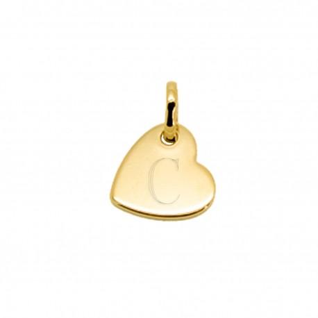 Pendentif gravé mini coeur penché - Plaqué or