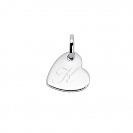 Pendentif gravé mini coeur penché - Argent
