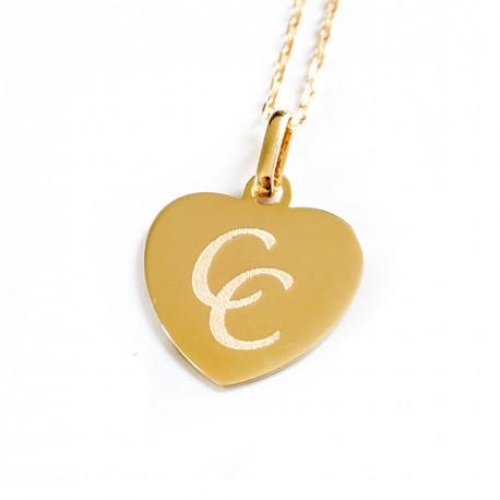 Collier gravé dessin Coeur plein - Plaqué or