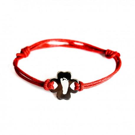 Bracelet gravé trèfle - Argent