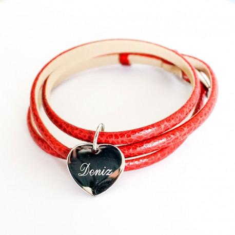 Bracelet personnalisé triple tours rouge - Cuir et Acier
