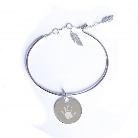 Bracelet jonc plumes et médaille personnalisée - Argent