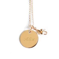 Collier gravé prénom enfant Petite Souris plaqué or