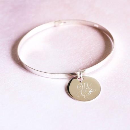 Bracelet jonc et médaille gravée en argent