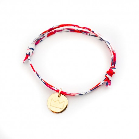 Bracelet enfant gravé prénom dessin Liberty plaqué or