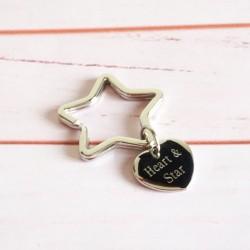 Porte-clé étoile et médaille coeur - Acier