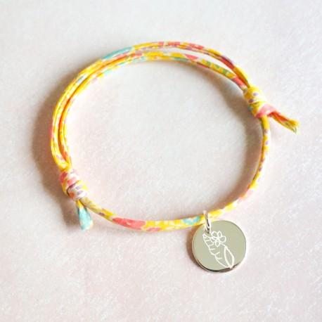 Bracelet enfant gravé prénom dessin Liberty argent