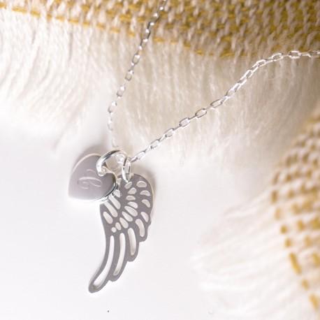 Collier Aile d'ange et pendentif rond - Argent