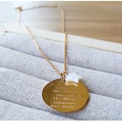 Collier gravé prénoms pendentif 27 mm - Plaqué or