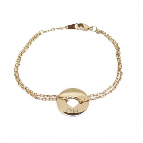 Bracelet gravé prénom Bulle de tendresse coeur - Plaqué or