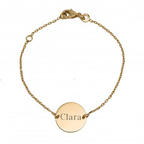 Bracelet enfant personnalisé médaille 14 mm - Plaqué or