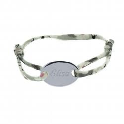 Bracelet personnalisé cordon Liberty et médaille ovale - Argent