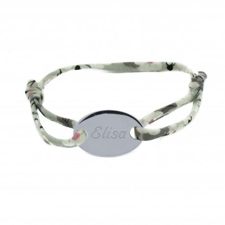 Bracelet cordon Liberty et médaille ovale - Argent