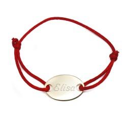 Bracelet médaille ovale et cordon de saton - Plaqué or