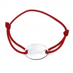 Bracelet personnalisé médaille ovale et cordon de satin - Argent