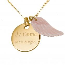 Collier médaille et aile d'ange en nacre