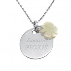 Collier personnalisé médaille 19 mm et trèfle en nacre - Argent