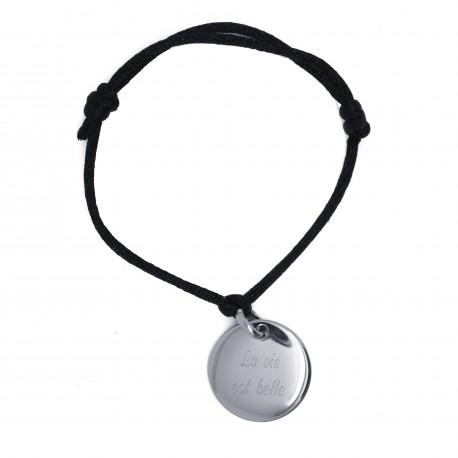 Bracelet 1 médaille bombée - Plaqué or