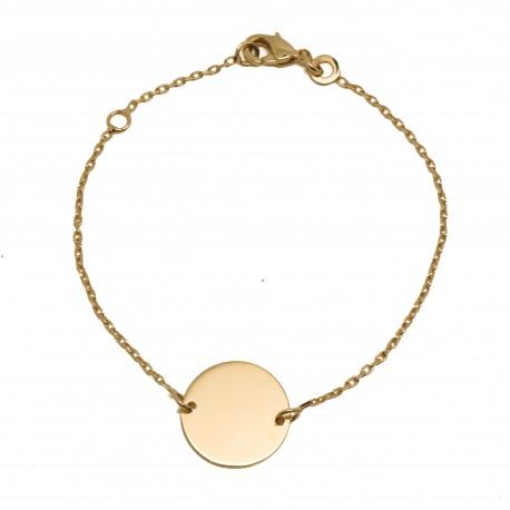 Bracelet médaille 14 mm - Plaqué or