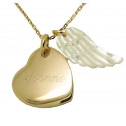 Collier personnalisé Coeur et Aile d'ange en nacre - Plaqué or