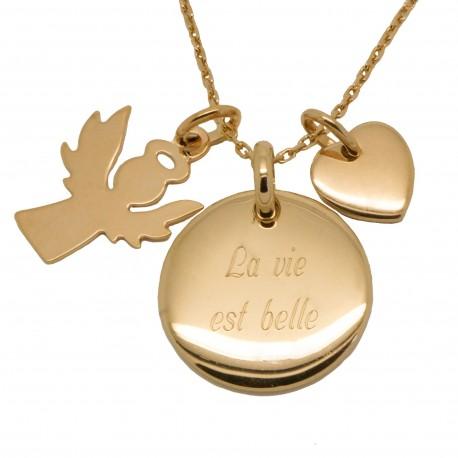 Collier Ange gardien et mini Coeur - Plaqué or