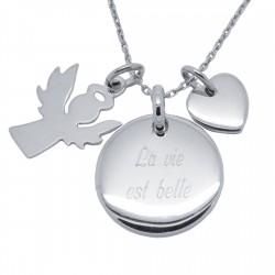 Collier Ange gardien et mini Coeur en argent