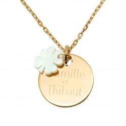 Collier personnalisé médaille 19 mm et trèfle en nacre - Plaqué or