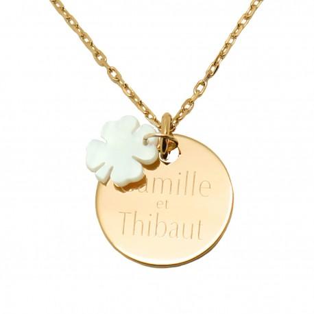 Collier médaille 19 mm et trèfle en nacre - Plaqué or