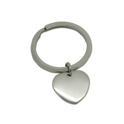 Porte-clé rond et médaille coeur - Acier