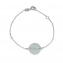 Bracelet personnalisé enfant médaille 14 mm - Argent