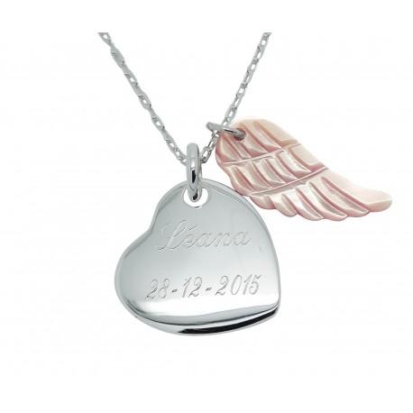 Collier coeur et aile d'ange en nacre - Plaqué or