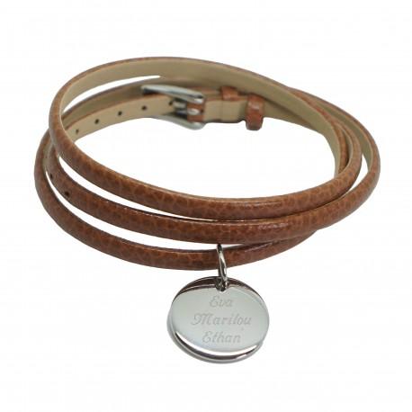 Bracelet personnalisé triple tours - Cuir et Acier