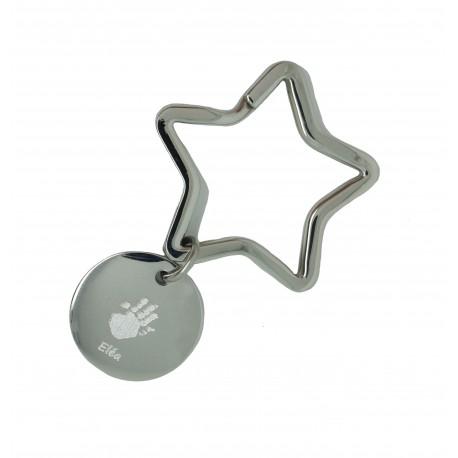 Porte-clé étoile et médaille ronde - Acier