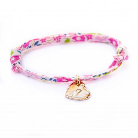 Bracelet mini coeur penché et Liberty - Plaqué or