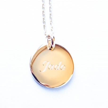 Collier personnalisé empreintes médaille 20 mm - Plaqué or