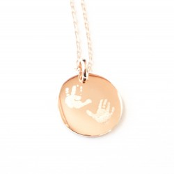 Collier médaille bombée 20 mm - Plaqué or