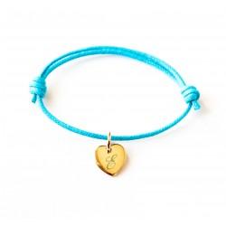 Bracelet personnalisé initiale prénom Mini Coeur sur cordon - Plaqué or