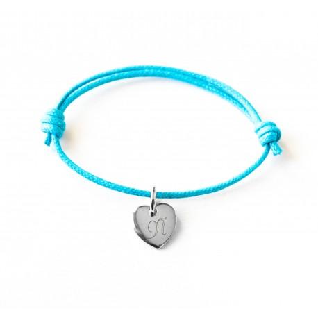 Bracelet personnalisé enfant Mini Coeur sur cordon - Argent