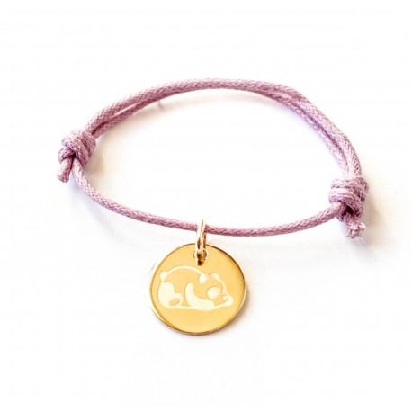 Bracelet personnalisé médaille 15 mm sur cordon - Plaqué or