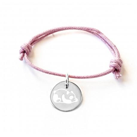 Bracelet personnalisé médaille 15 mm sur cordon - Argent