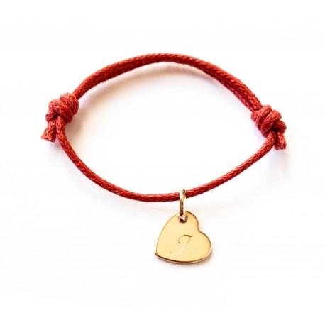 Bracelet personnalisé enfant coeur décentré et cordon
