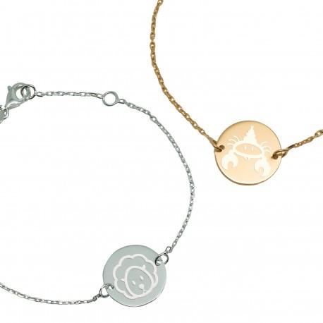 Bracelet gravé signe astrologique enfant plaqué or ou argent