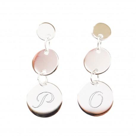 Boucles d'oreilles gravées trois médailles