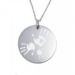 Collier personnalisé prénom dessin ou empreinte médaille 27 mm - Argent