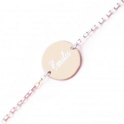 Bracelet personnalisé prénom pour femme, médaille 14 mm - Argent